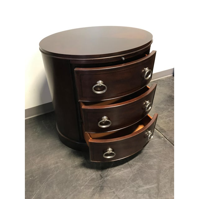 Contemporary Oval Mahogany 3-Drawer Bachelor Chest - Image 5 of 11