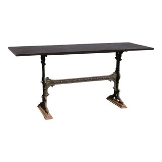 Antique English Iron Garden Table With Slate Top For Sale