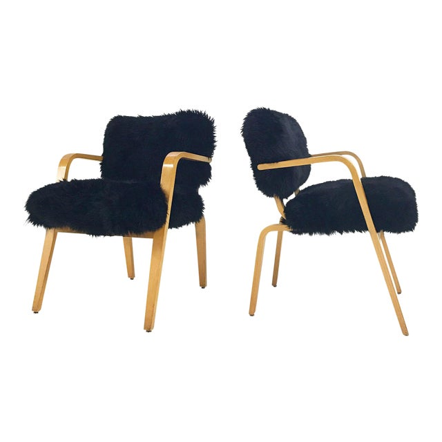 Forsyth One of a Kind Black Sheepskin Armchairs In The Style of Joe Atkinson for Thonet- Pair For Sale