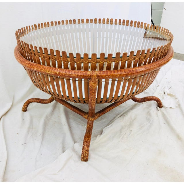 Vintage Bent Rattan & Bamboo Stick Coffee Table with Mirrored Base and Round Glass Top. Fabulous Boho Chic Style with...