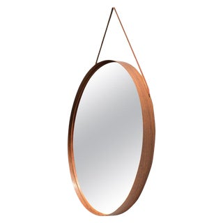 Uno & Osten Kristiansson for Glas Mäster Rosewood and Leather Mirror For Sale