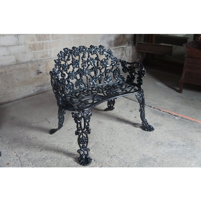 Early 20th Century Antique Victorian Cast Iron Grape Vine Garden Furniture-Set Of 3 For Sale - Image 5 of 11
