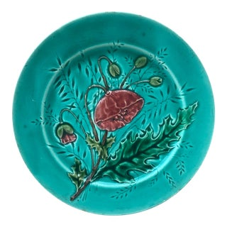 French Majolica Poppies Plate Luneville, Circa 1880 For Sale