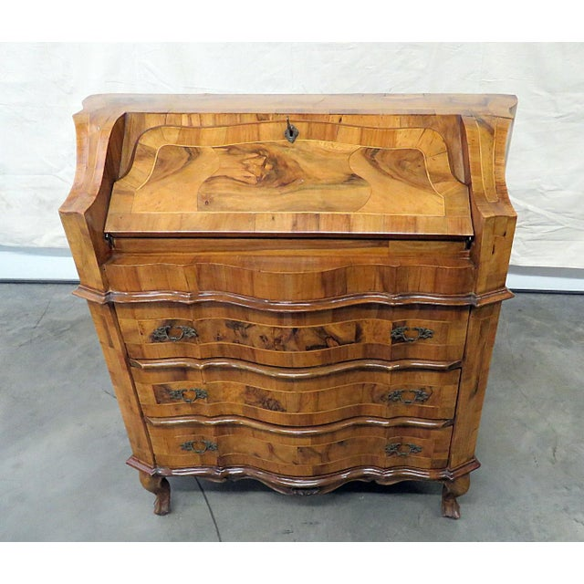 Vintage Olivewood Secretary Desk For Sale - Image 11 of 11
