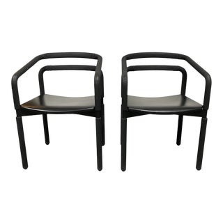Steelcase Brian Kane Rubber Black Arm Chairs - a Pair For Sale