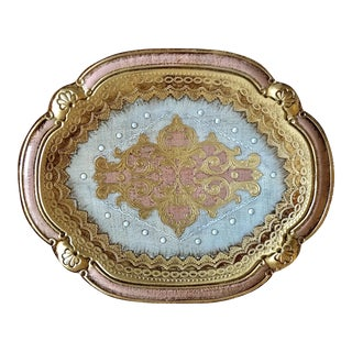 Pink Italian Florentine Tray For Sale