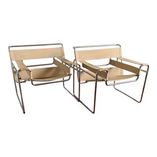 Marcel Breuer Wassily B3 Lounge Attributed Chairs in Canvas and Tubular Chrome - a Pair For Sale