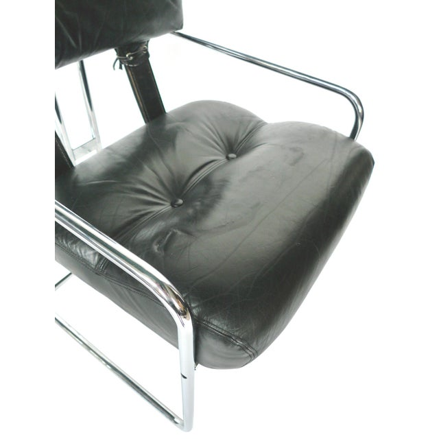 Tucroma Black Leather & Chrome Dining Chairs - Set of 4 - Image 8 of 10