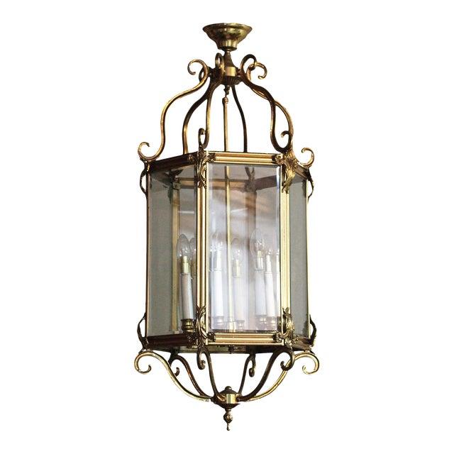 Late 20th Century Brass Hexagonal Lantern - Ceiling Light For Sale