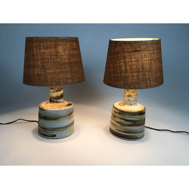 Ceramic Mid-Century Modern Martz Hand Painted Art Pottery Lamps - a Pair For Sale - Image 7 of 11