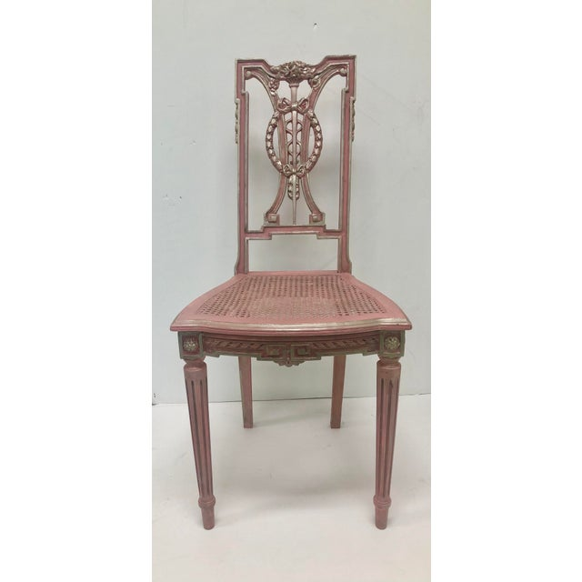 Pink F. Louis XVI Style Chair in Pink For Sale - Image 8 of 8