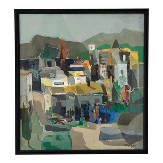 """Original Oil on Canvas Titled, """"Mountain Village."""" For Sale"""