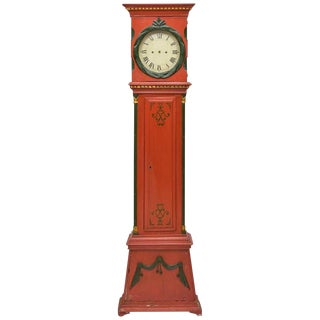 Danish Empire Bornholm Painted Grandfather Clock For Sale