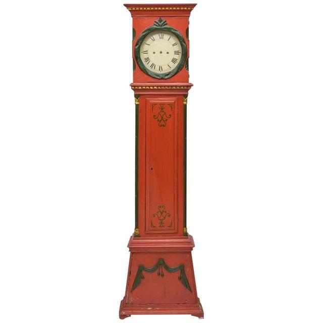Danish Empire Bornholm Painted Grandfather Clock For Sale