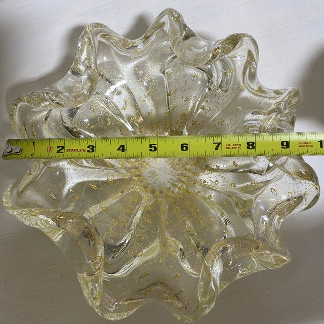 Glass Murano Gold Fleck Glass Bowl For Sale - Image 7 of 9