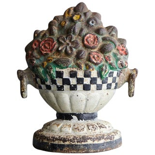 19th Century Cast Iron Hand Painted Polychrome Flower Bouquet Doorstop For Sale