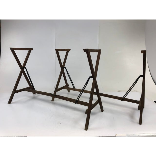 (2) Vintage Wood Wallpaper Table Bases. Matching pair. Well aged for a nice, industrial look. Great to use as a table...