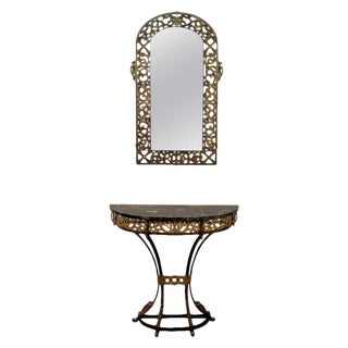 1920s Art Deco Oscar Bach Marble Wrought Iron Console Table and Mirror - 2 Piece Set For Sale