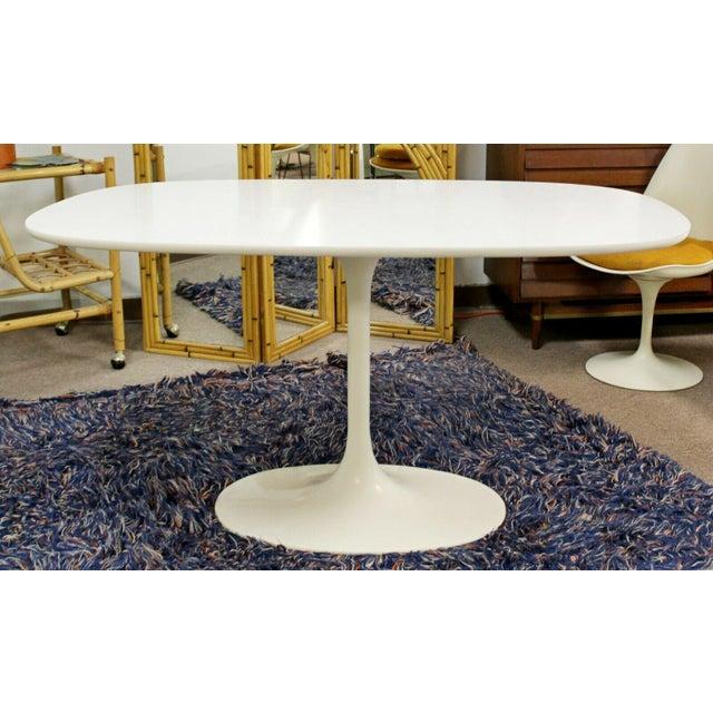 Burke Mid Century Modern Saarinen Style Rectangular White Tulip Dining Table For Sale - Image 4 of 8