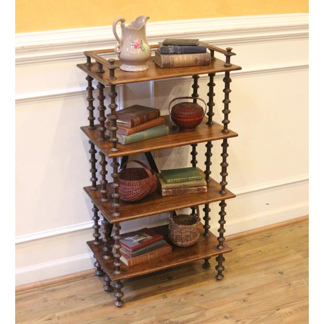 Late 19th Century. Antique Rustic Folk Art Wooden Spool Shelves For Sale - Image 4 of 13