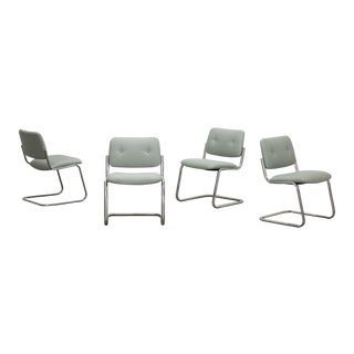 Cantilevered Chrome Dining Chairs - Set of 4