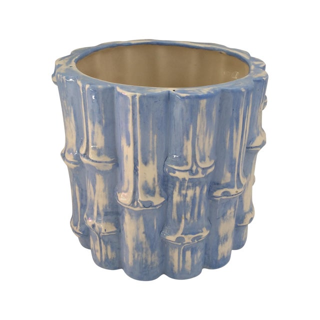 Hand Painted Blue Bamboo Cache Pot - Image 1 of 5