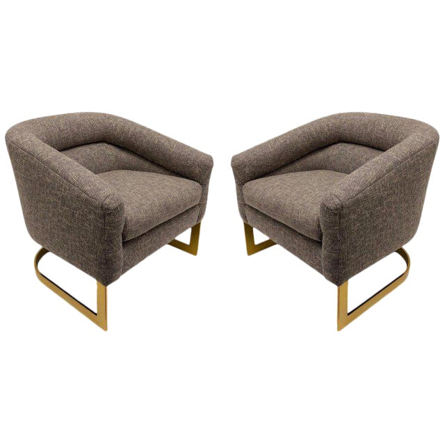 Milo Baughman Brass and Fabric Lounge Chairs - a Pair For Sale