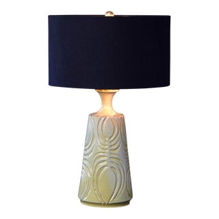 Yellow Ceramic Lamp With Decorative Lines by Robert Maxwell With Black Linen Shade For Sale