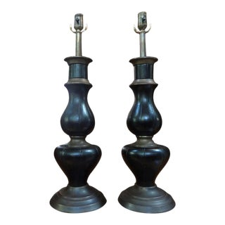 James Mont Inspired Brass and Leather Lamps-Pair For Sale