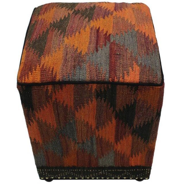 Boho Chic Boho Chic Camp Orange/Rust Handmade Kilim Upholstered Ottoman For Sale - Image 3 of 8