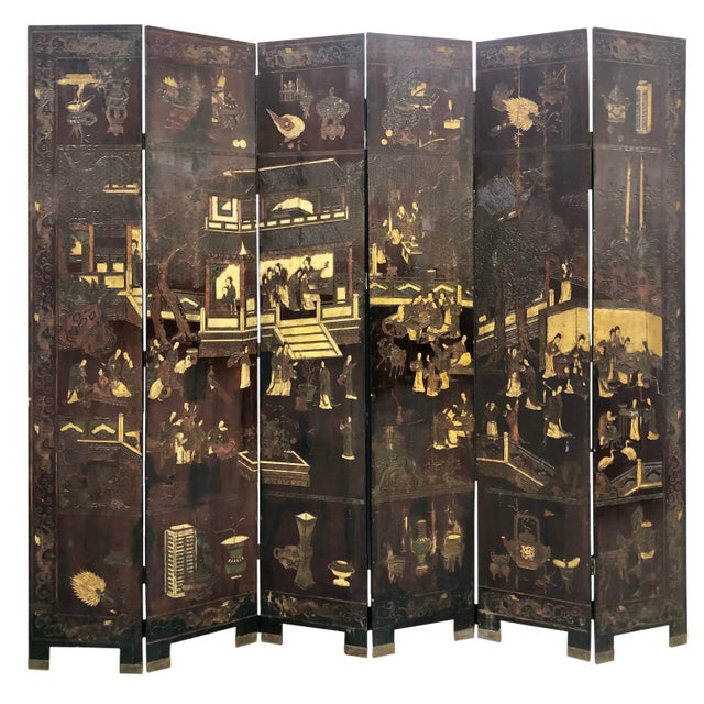 Wood Early 19th Century Chinese Black Wooden Screen/Room Divider For Sale - Image 7 of 7