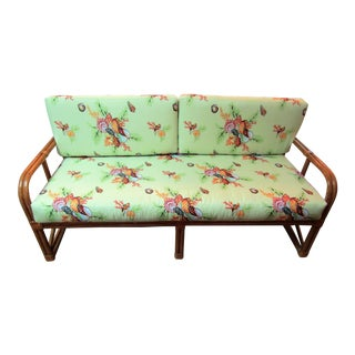1970s Rattan Daybed Sofa With New Thibaut Upholstered Cushions For Sale