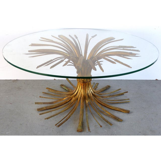 """Italian Gilt Iron """"Coco Chanel"""" Style Wheat Sheaf Coffee Table For Sale - Image 10 of 10"""