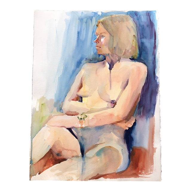 Large Vintage Original Female Nude Watercolor Painting Study For Sale