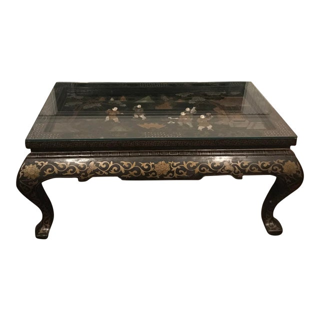 1920s Asian Lacquered and Inlaid Coffee Table For Sale