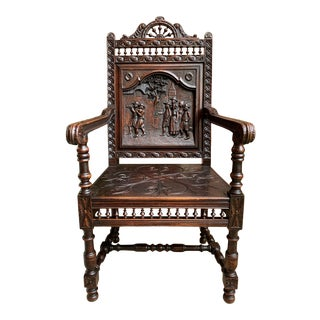 19th Century French Carved Oak Arm Fireside Throne Chair Breton Brittany For Sale