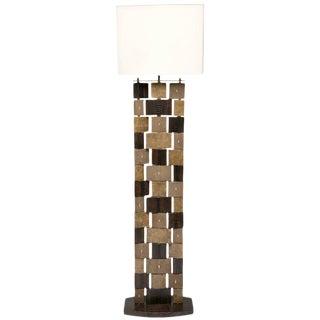 R & Y Augousti Floor Lamp, Shagreen, Alligator, Lizard and Mahogany Wood For Sale