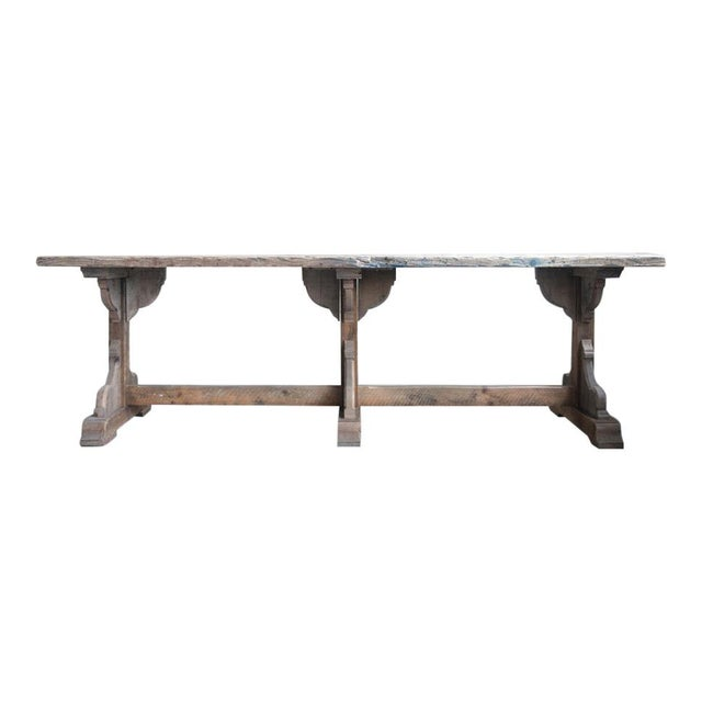 2010s French Rectory Wooden Table For Sale - Image 5 of 8