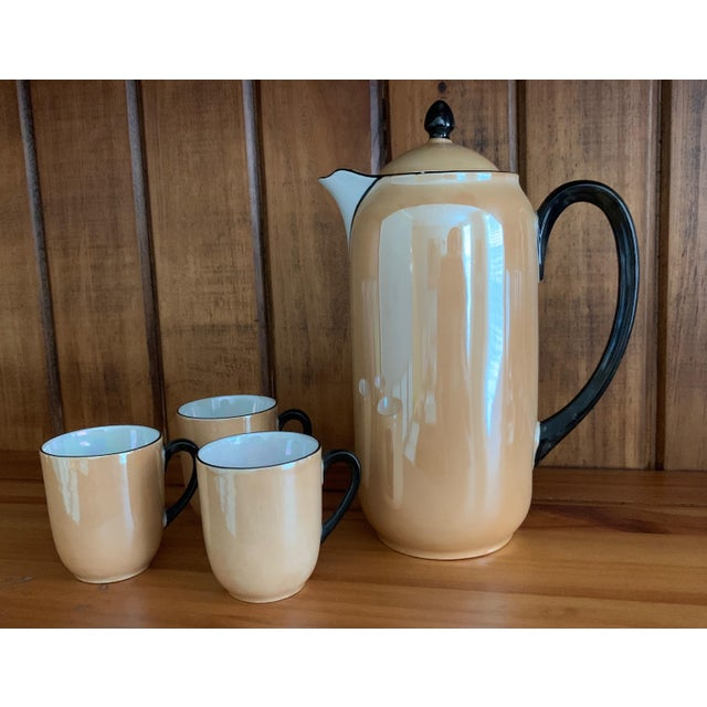 Vintage Lusterware Coffee Pot With Tea Cup Set- 4 Pieces For Sale In Washington DC - Image 6 of 6