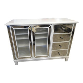 White Mirrored Four Drawer Media Cabinet