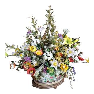 Porcelain Floral Arrangement Set in a Porcelain Jardinière, 20th Century For Sale