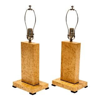 Art Deco Birds Eye Maple Table Lamp - a Pair For Sale