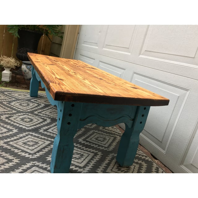 Boho Chic Boho Chic Reclaimed Heart-Pine Coffee Table For Sale - Image 3 of 7