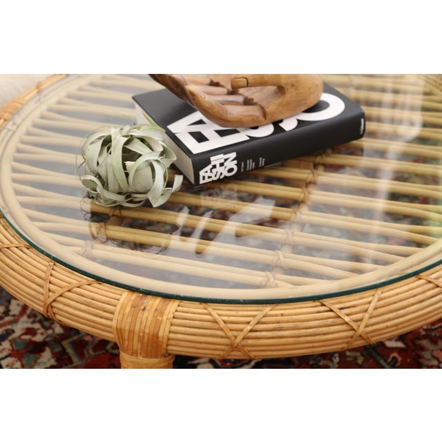 Gabriella Crespi Style Rattan & Bamboo Pencil Reed Coffee Table - Image 4 of 10