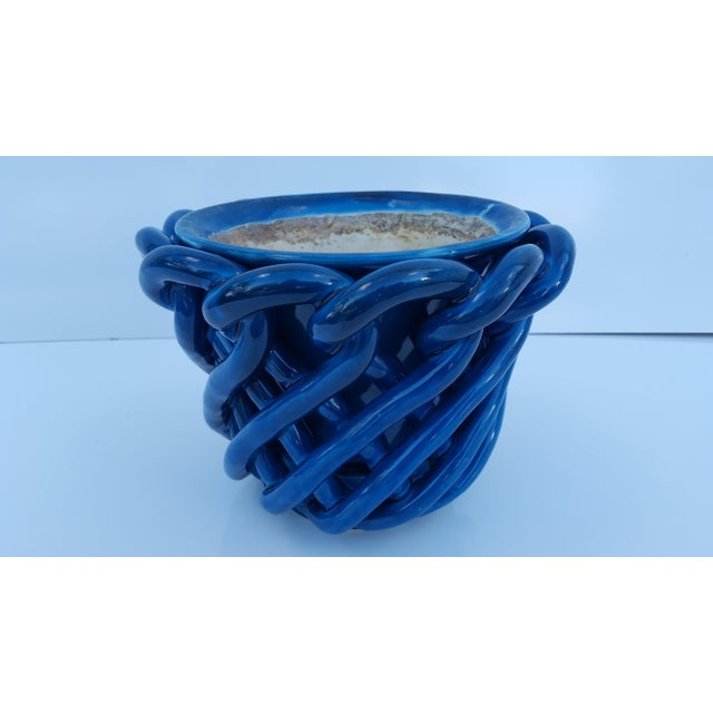Turquoise Vintage Blue Turquoise Decorative Planter Pot. For Sale - Image 8 of 8