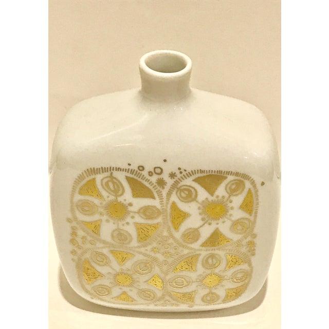 Vintage Mid Century Modern Porsgrund Norway Gold And White Vase