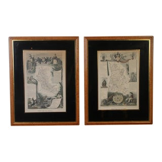 Framed 19th C. Hand Colored French Maps - A Pair For Sale