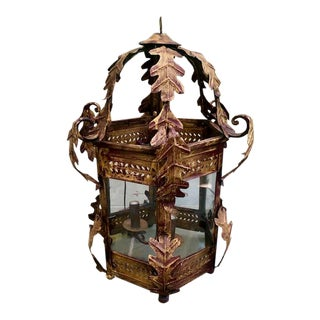 Two Worlds Arts Custom Large Scale Gilt Tole Chandelier/Hall Lantern For Sale