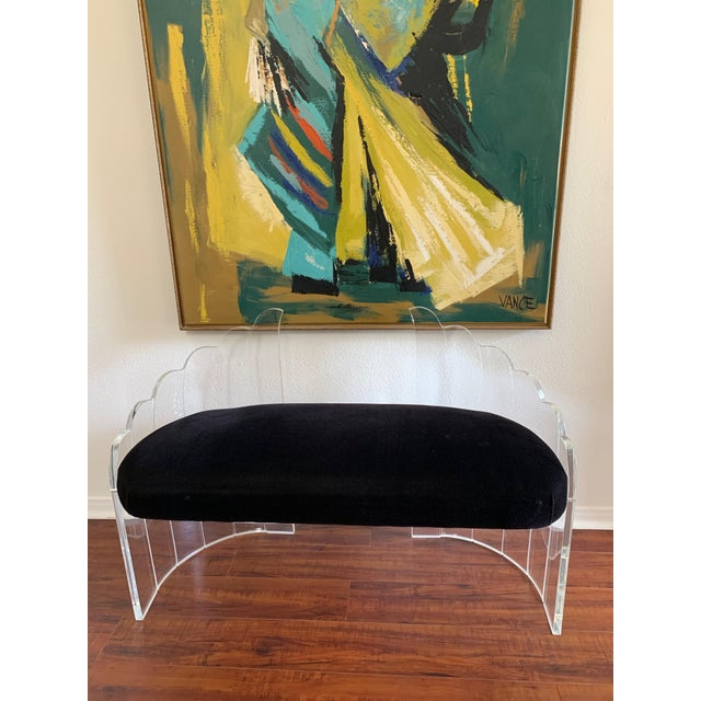 """1970s Vintage Charles Hollis Jones for Hill Mfg Clear Lucite """"Angel Wings"""" Bench For Sale - Image 12 of 12"""