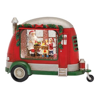 Kenneth Ludwig Camper With Santa & Elf Snow Globe For Sale